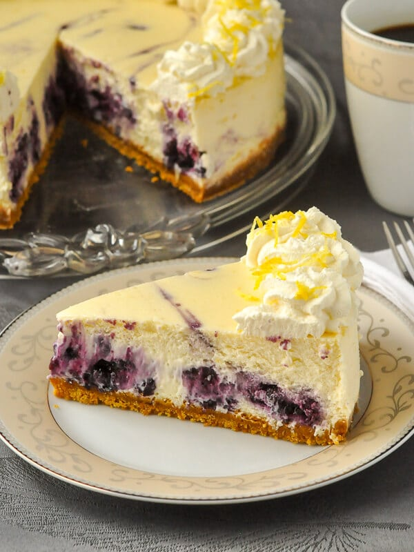 Lemon Blueberry Swirl Cheesecake. Two extremely complimentary flavours come together deliciously when a blueberry compote gets swirled through a creamy lemon cheesecake.