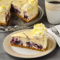 Lemon Blueberry Swirl Cheesecake