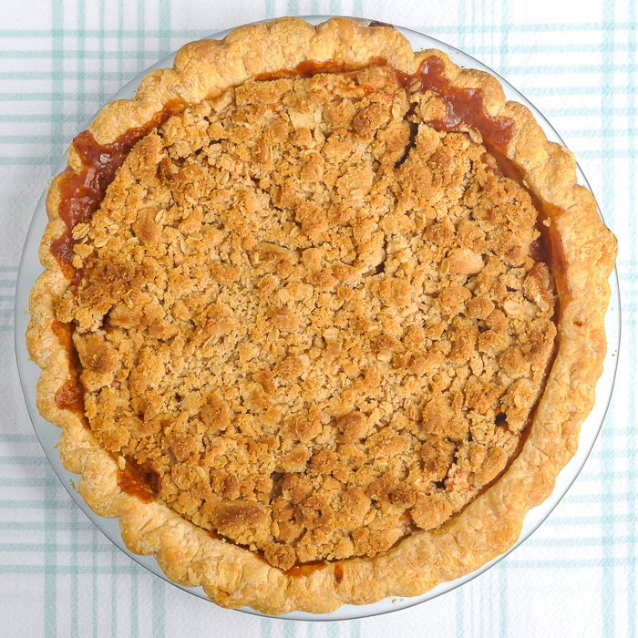 Deep Dish Apple Crumble Pie overhead photo showing the entire top of the pie