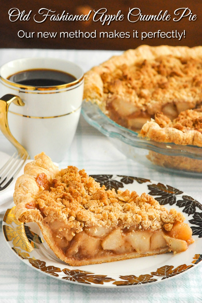 Deep Dish Apple Crumble Pie photo of a single cut slice with title Text Added for Pinterest