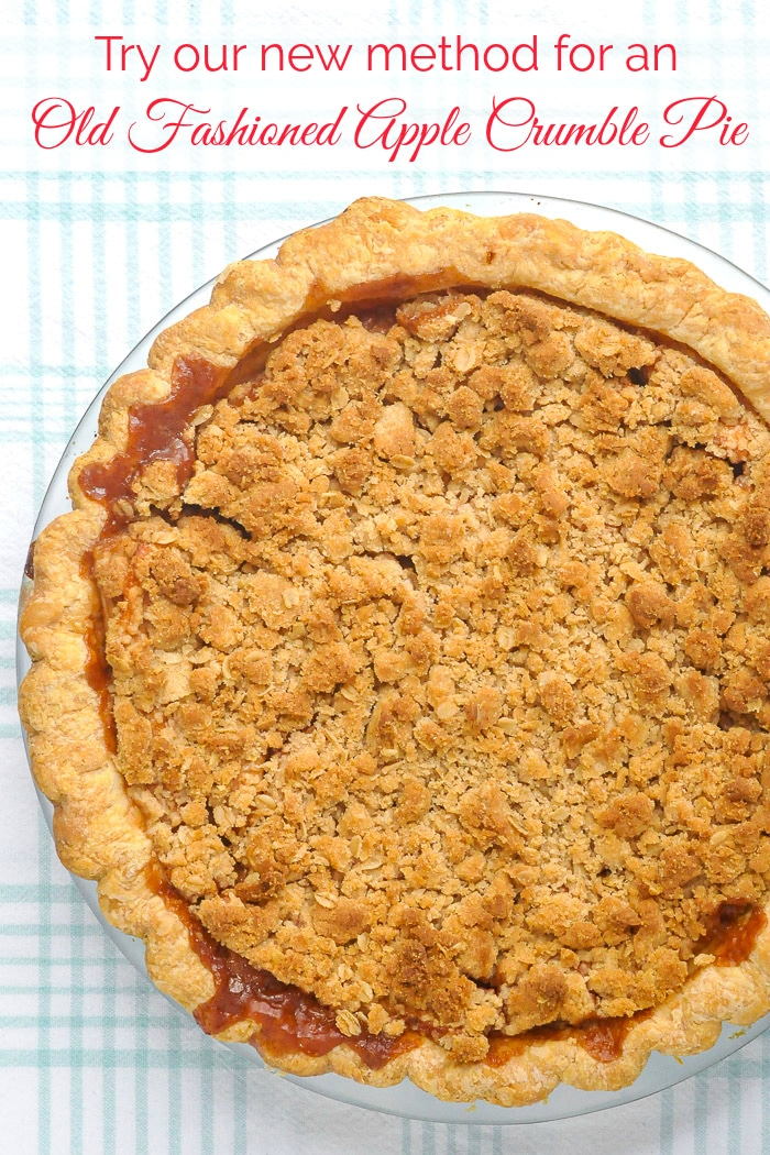 Deep Dish Apple Crumble Pie photo of uncut pie with title text added for Pintertest
