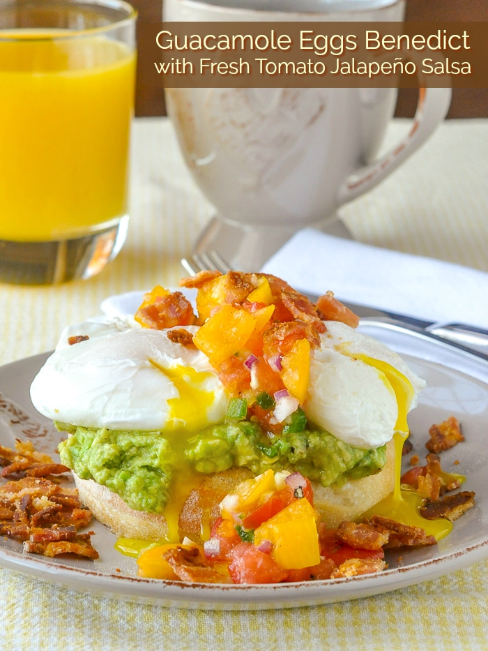Guacamole Eggs Benedict with Fresh Tomato Jalapeño Salsa photo with title text for Pinterest