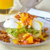 Guacamole Eggs Benedict with Fresh Tomato Jalapeño Salsa