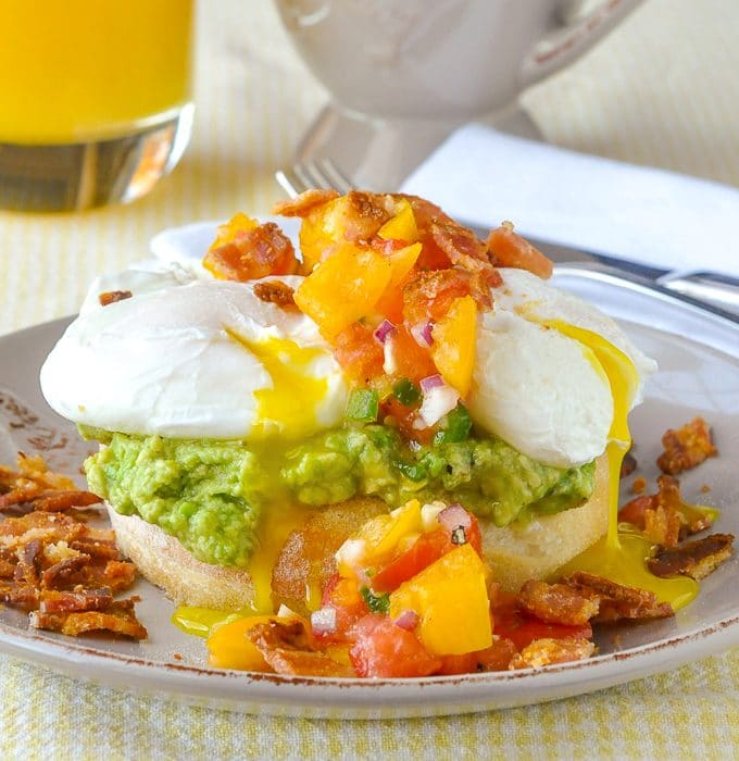 Guacamole Eggs Benedict with Fresh Tomato Jalapeño Salsa square format featured image