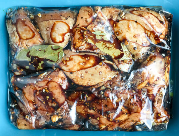 Chicken Adobo, marinating.