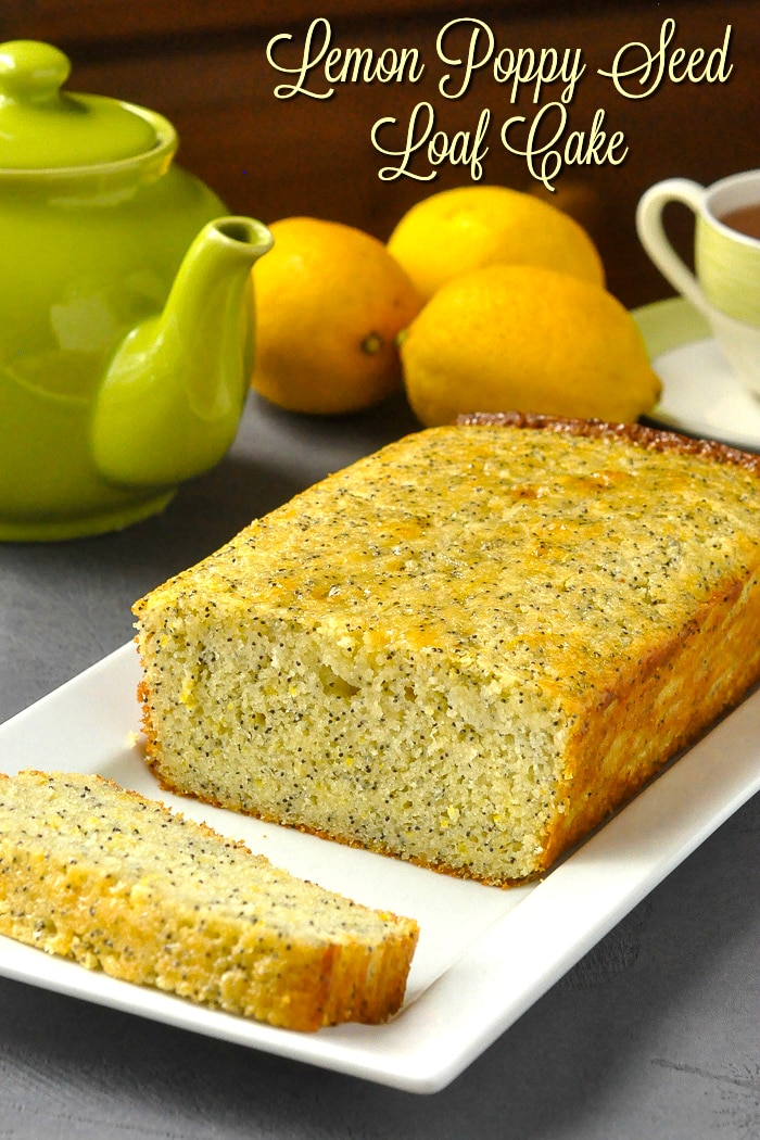 Lemon Poppy Seed Loaf Cake photo with title text added for Pinterest