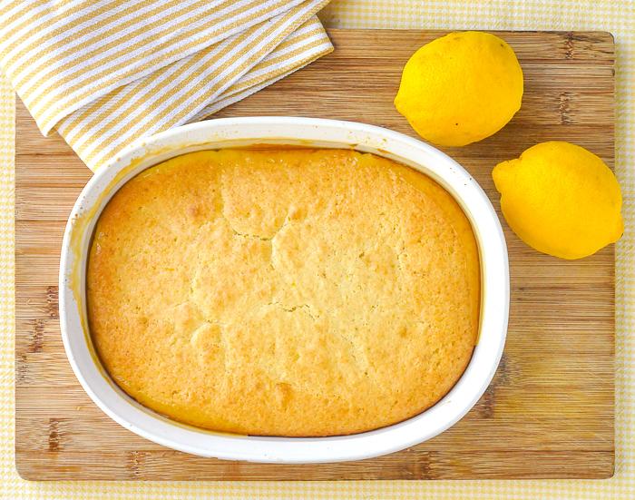 Overhead photo of fully baked Lemon Pudding Cake