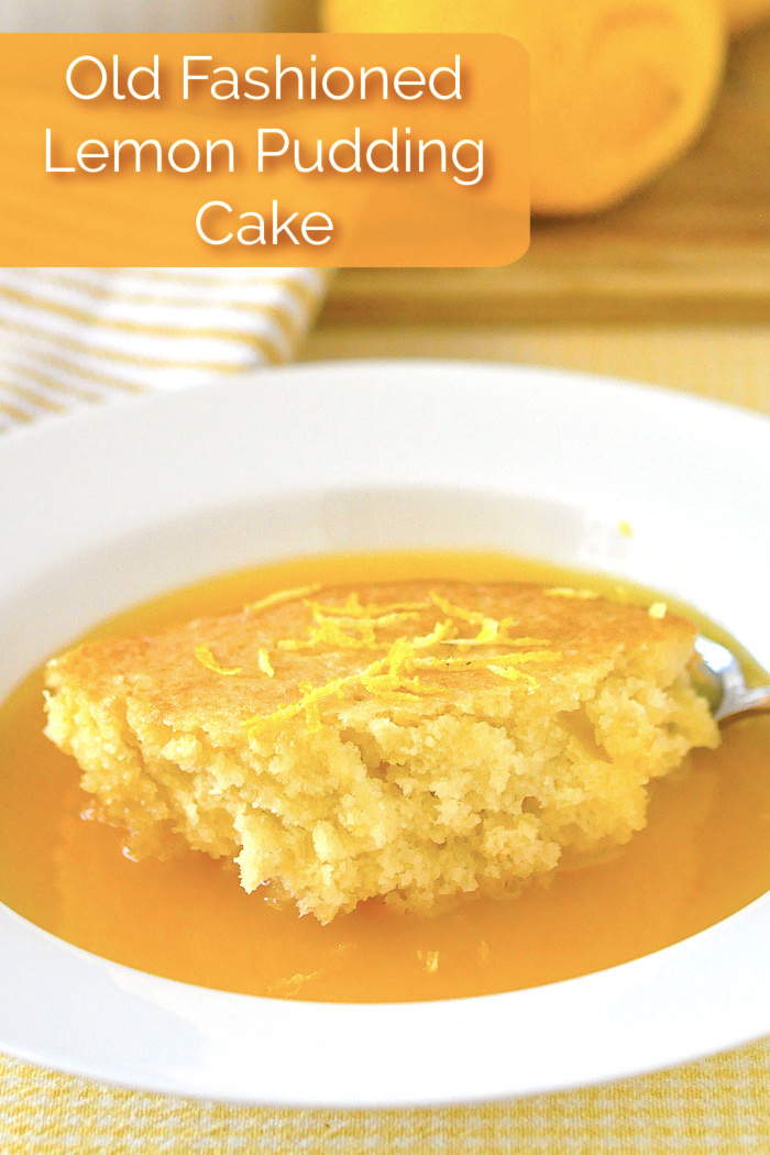 Photo of a single serving of Lemon Pudding Cake with title text added for Pinterest