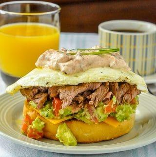 Steak and Eggs Breakfast Sandwich close up photo