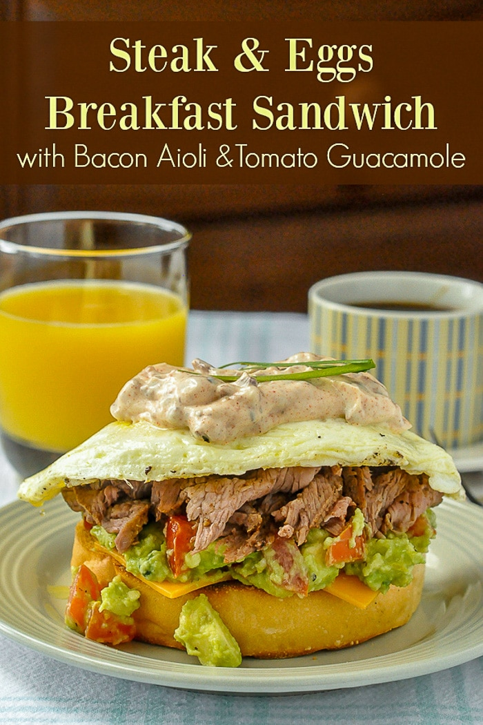 Steak and Eggs Breakfast Sandwich photo with title text for Pinterest