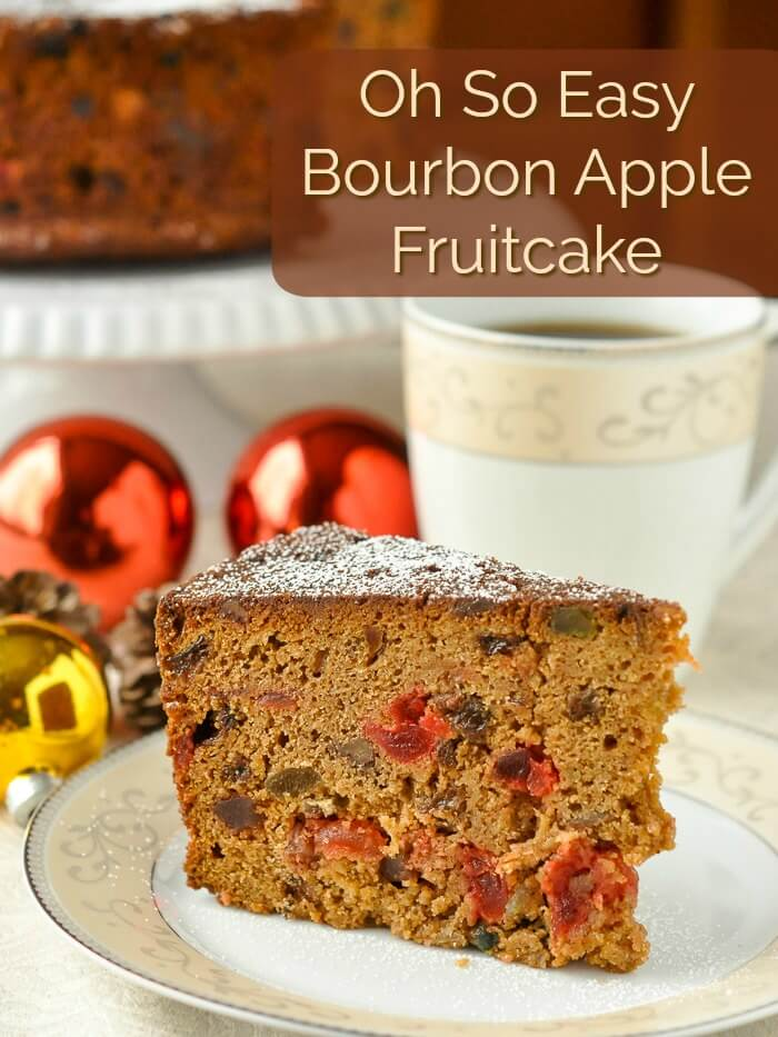 Bourbon Apple Fruitcake image with title text