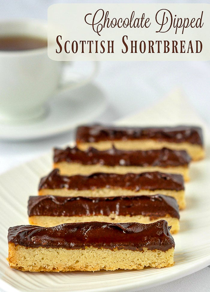 Chocolate Dipped Chocolate Shortbread with title text added for Pinterest