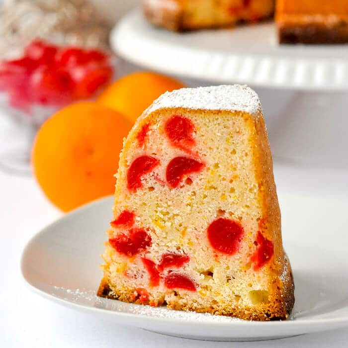 Cream Cheese Pound Cake with Cherries & Orange