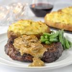Bourbon Mushroom Sauce on Grilled Rib Eye Steak