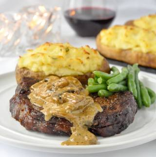 Bourbon Mushroom Sauce on Grilled Rib Eye Steak
