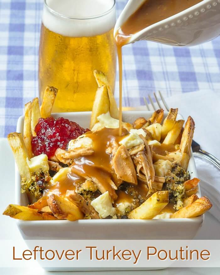 Leftover Turkey Poutine with Newfoundland Savoury Dressing, image with title text