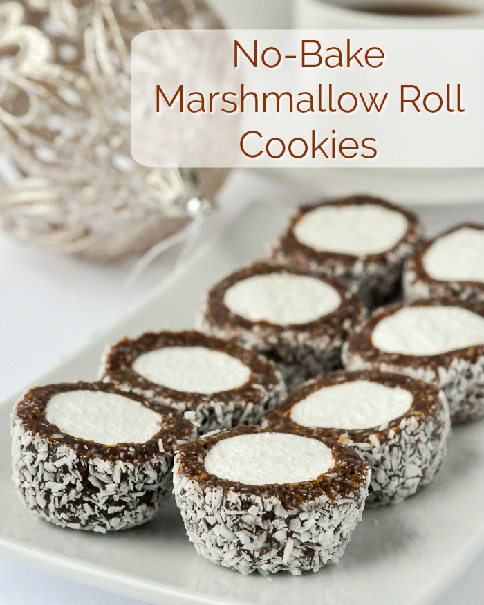 No Bake Marshmallow Cookies, image with title text