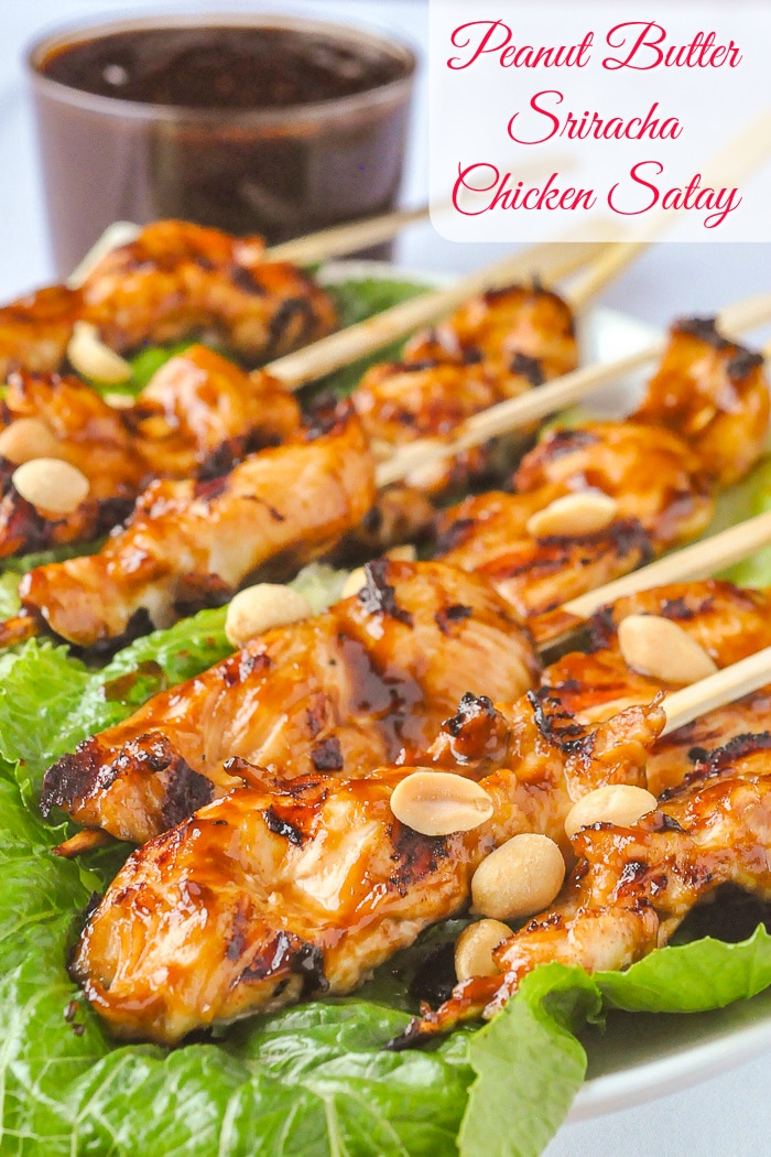 Peanut Butter Sriracha Chicken Satay photo with title text for Pinterest