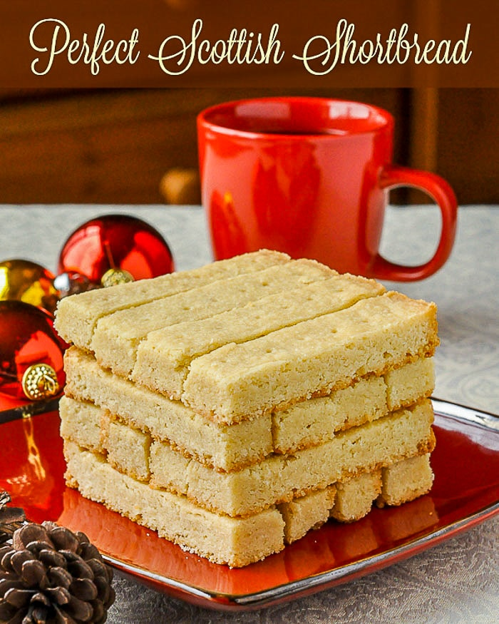 Scottish Shortbread on a red plate with title text added for Pinterest