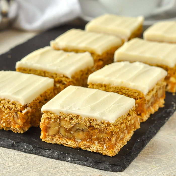 Walnut Oh Henry Bars on a serving platter