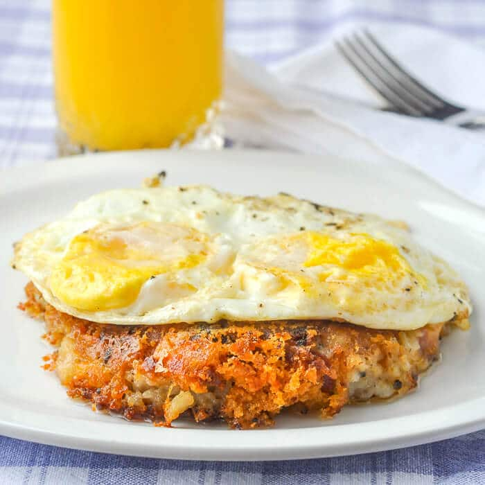 Cheddar Ham Potato Cakes with fried eggs for brunch!