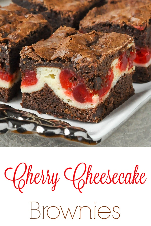 Cherry Cheesecake Brownies image with title text for Pinterest