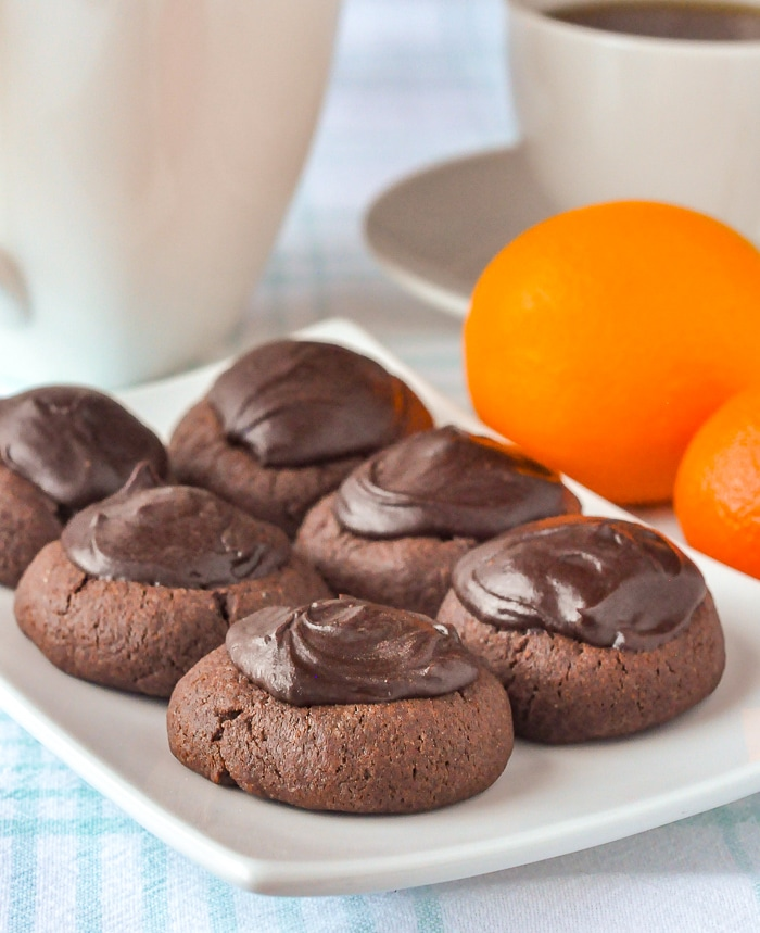 Chocolate Orange Thumbprint Cookies on a white serving plate