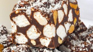Close up photo of finished peanut butter rock road bars
