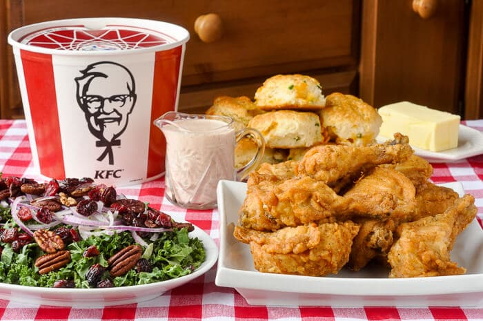 KFC with Cranberry Kale Salad and Cheddar Jalapeño Biscuits