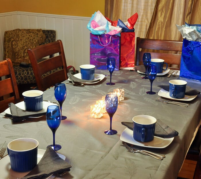"Setting the stage for a birthday Dinner Party ""Mug Up""."