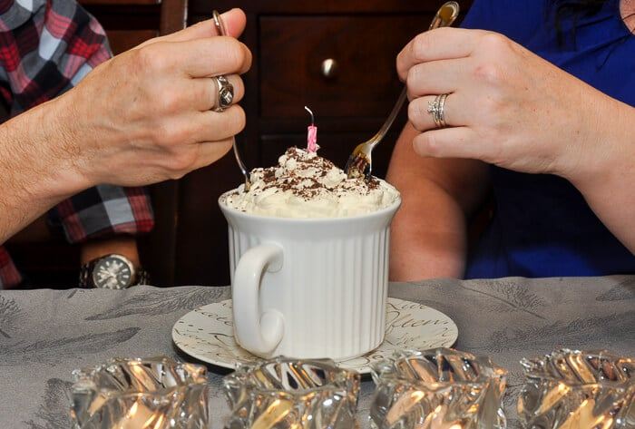 The newlyweds, Ellen & Max share a Chocolate Orange Mug Cake