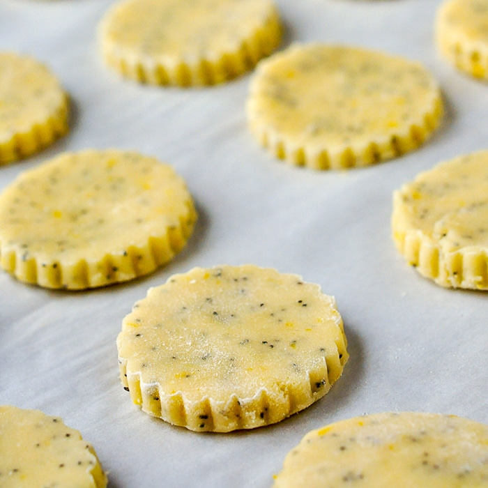 Lemon Poppy Sees Shortbread Cookies on cookie sheet ready for the oven.