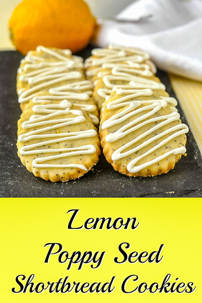 Lemon Poppy Sees Shortbread Cookies recipe with title text for Pinterest