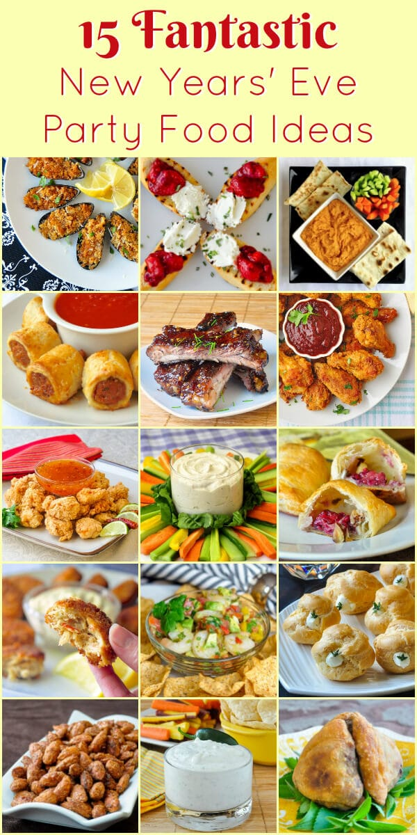New Years Eve Party Food image with title text for Pinterest.