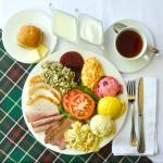 Newfoundland Cold Plate on tartan and white tablecloth.