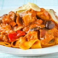 Amatriciana Pasta with Chicken (or Chicken Fettuccine with Blush Tomato Sauce)
