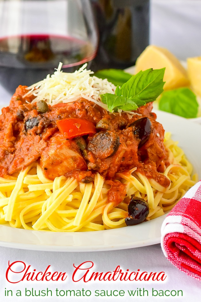 Chicken Amatriciana photo with title text added for Pinterest
