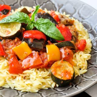 Spicy Ratatouille with Orzo – an outstanding vegetarian meal.