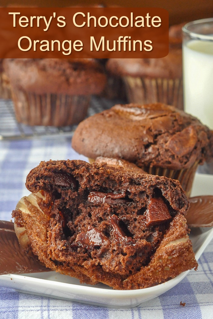 Terry's Chocolate Orange Muffins photo with title text for Pinterest