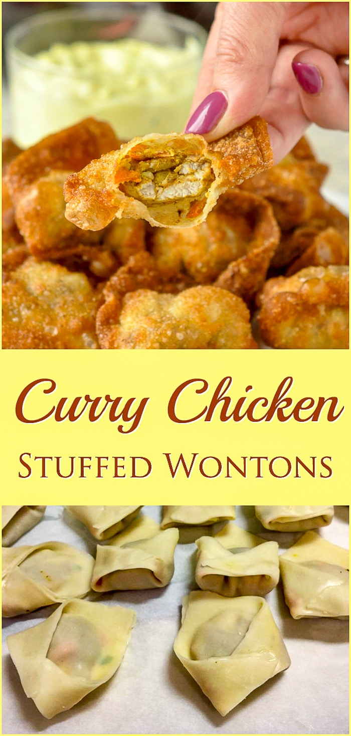 Curry Chicken Stuffed Wontons photo collage with title text for Pinterest