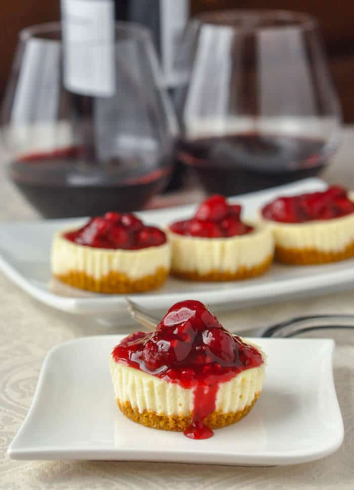 Mini Lemon Cheesecakes with Raspberry Sauce