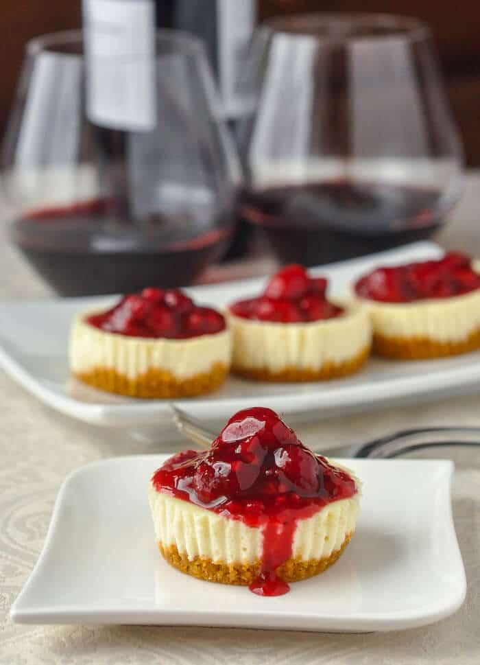 Mini Lemon Cheesecakes with Raspberry Sauce