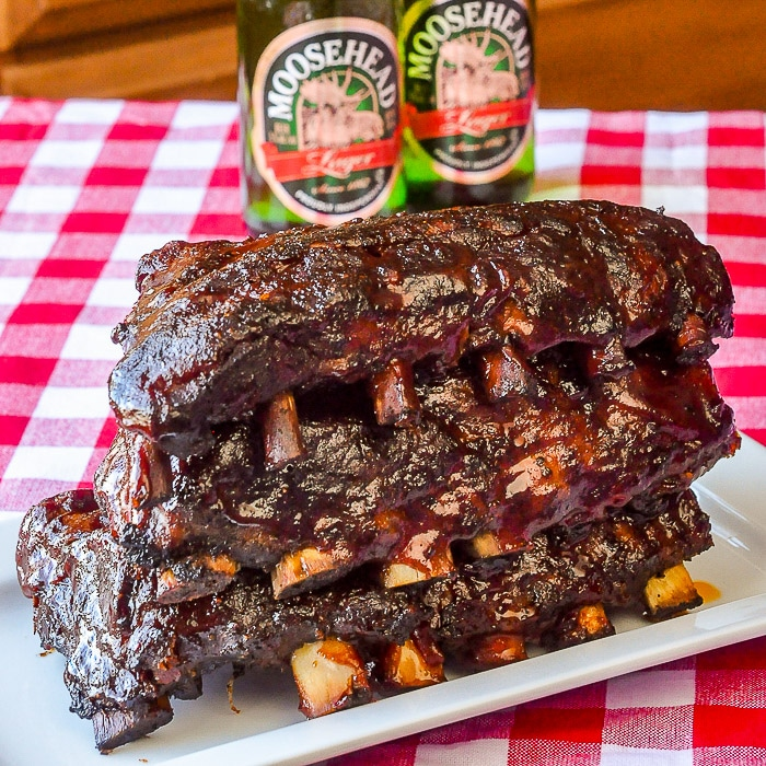 Slow Cooker Barbecue Ribs, image of half racks, cooked and stacked