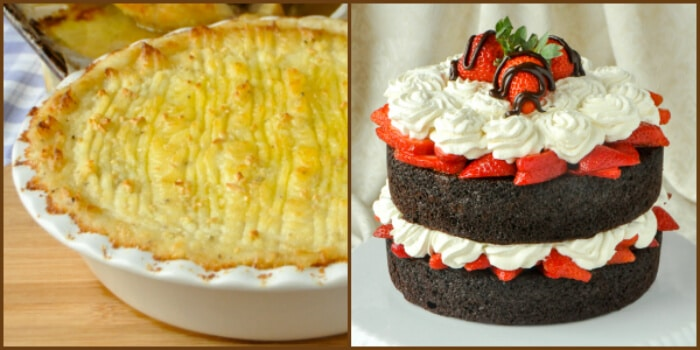 Smoked Cheddar Duchess Potatoes & Chocolate Strawberry Shortcake