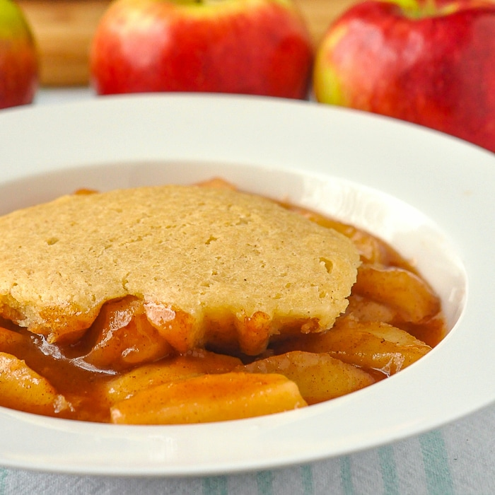 Apple Cobbler close up photo of a single serving in a white bowl
