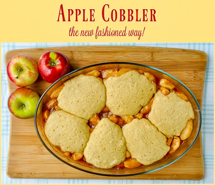 Apple Cobbler overhead shot just out of the oven with title text added
