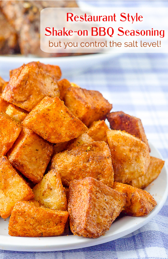 Barbecue Spice Mix Seasoning on Hash Browns with title text added for Pinterest