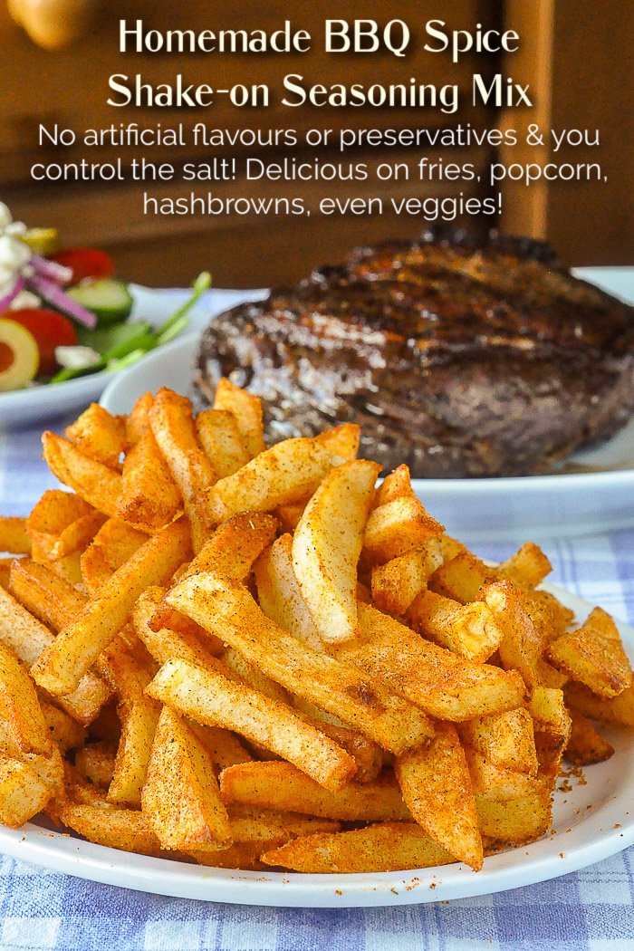 Barbecue Spice Mix Seasoning on crispy french fries photo with title text added for Pinterest
