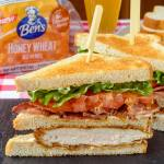 Smoked Paprika Fried Chicken Club Sandwich on Ben's Honey Wheat Bread