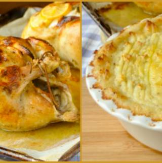 Garlic Lemon Roast Chicken & Smoked Cheddar Duchess Potatoes